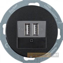 Ładowarka USB czarny połysk Berker R.classic