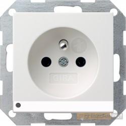 Gniazdo z uziemieniem podświetlane LED biały mat Gira System 55