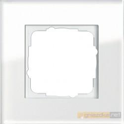 Ramka pojedyncza białe szkło Gira Esprit