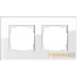 Ramka podwójna białe szkło Gira Esprit