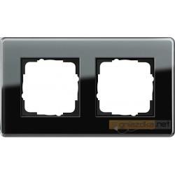 Ramka podwójna czarne szkło C Gira Esprit