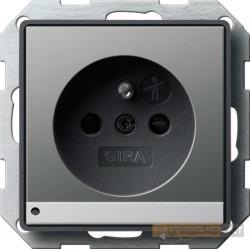 Gniazdo z uziemieniem podś LED naturalny stalowy Gira E22
