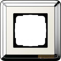 Ramka pojedyncza chrom/kremowy Gira ClassiX