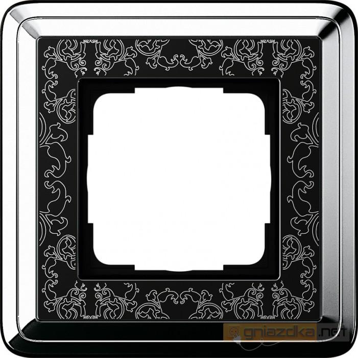 Ramka pojedyncza chrom/czarny Gira ClassiX Art