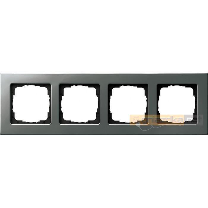 Ramka poczwórna naturalny stalowy Gira E22