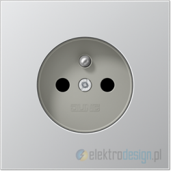 Gniazdo z uziemieniem i przesłonami, aluminium, JUNG LS Aluminium