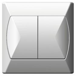 Łącznik schodowy + jednobiegunowy biały Akcent Ospel