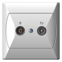 Gniazdo RTV GAP-10 dB biały Akcent Ospel