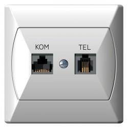 Gniazdo komputerowo-telefoniczne RJ 45, biały Akcent Ospel