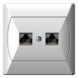 Gniazdo komputerowe, podwójne, kat. 5e, biały Akcent Ospel