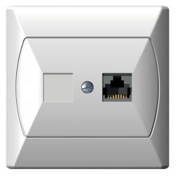 Gniazdo komputerowe, pojedyncze, kat. 5e biały Akcent Ospel