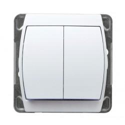 Łącznik schodowy + jednobiegunowy biały Gazela Ospel