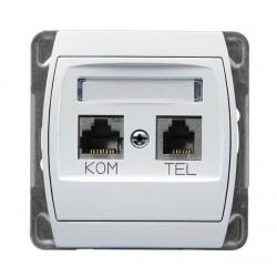 Gniazdo komputerowo-telefoniczne RJ 45, biały Gazela Ospel
