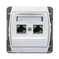 Gniazdo komputerowe, podwójne, kat. 5e, biały Gazela Ospel