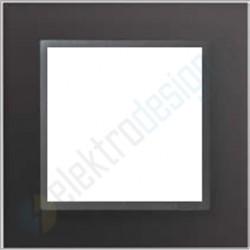 Ramka 1-krotna, czarne szkło / grafit, EFAPEL LOGUS 90 Crystal