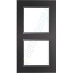 Ramka 2-krotna, czarne szkło / grafit, EFAPEL LOGUS 90 Crystal
