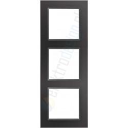 Ramka 3-krotna, czarne szkło / grafit, EFAPEL LOGUS 90 Crystal