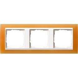 Ramka potrójna (do białych środków), Gira Event Opaque pomarańczowa